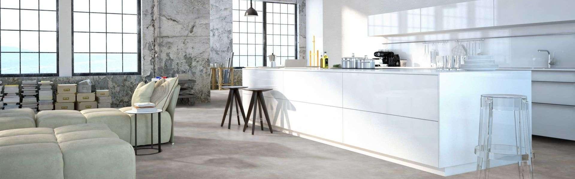 Bild: Designbelag moderne Küche weiß